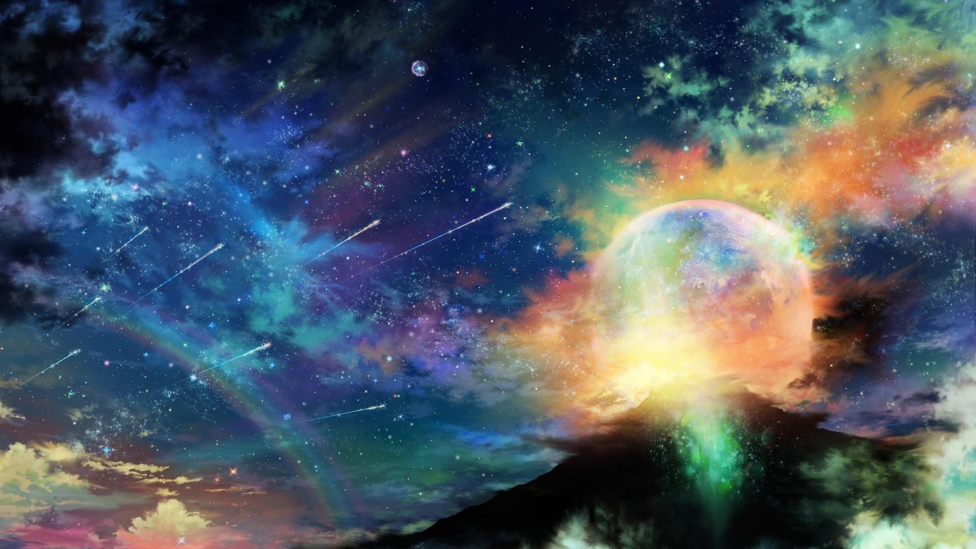 Download Art Tsujiki Planet Night Stars Clouds Rainbow Colorful Galaxy Wallpaper Hd 1925807 Hd Wallpaper Backgrounds Download