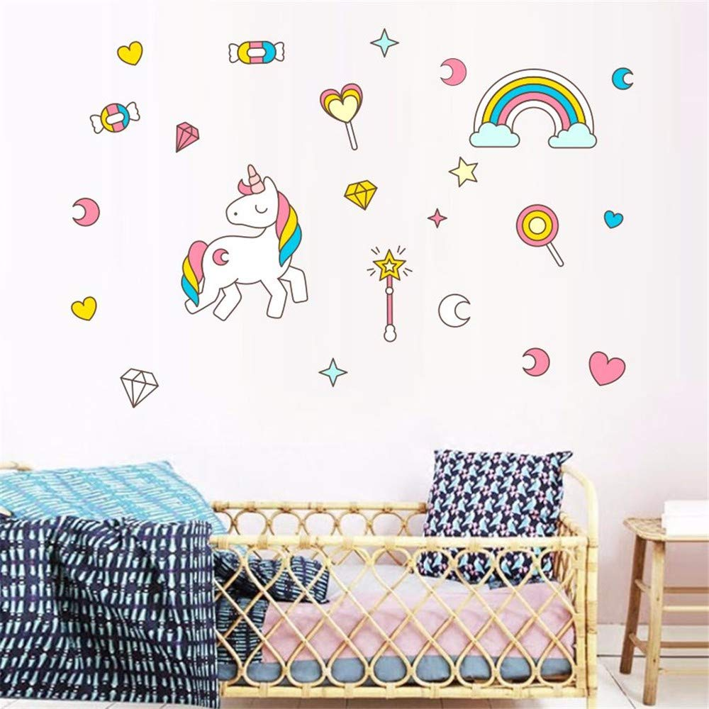 Dtcrzj Lovely Unicorn Horse Wall Stickers Cloud Colorful - Kids Superhero Wall Decal , HD Wallpaper & Backgrounds