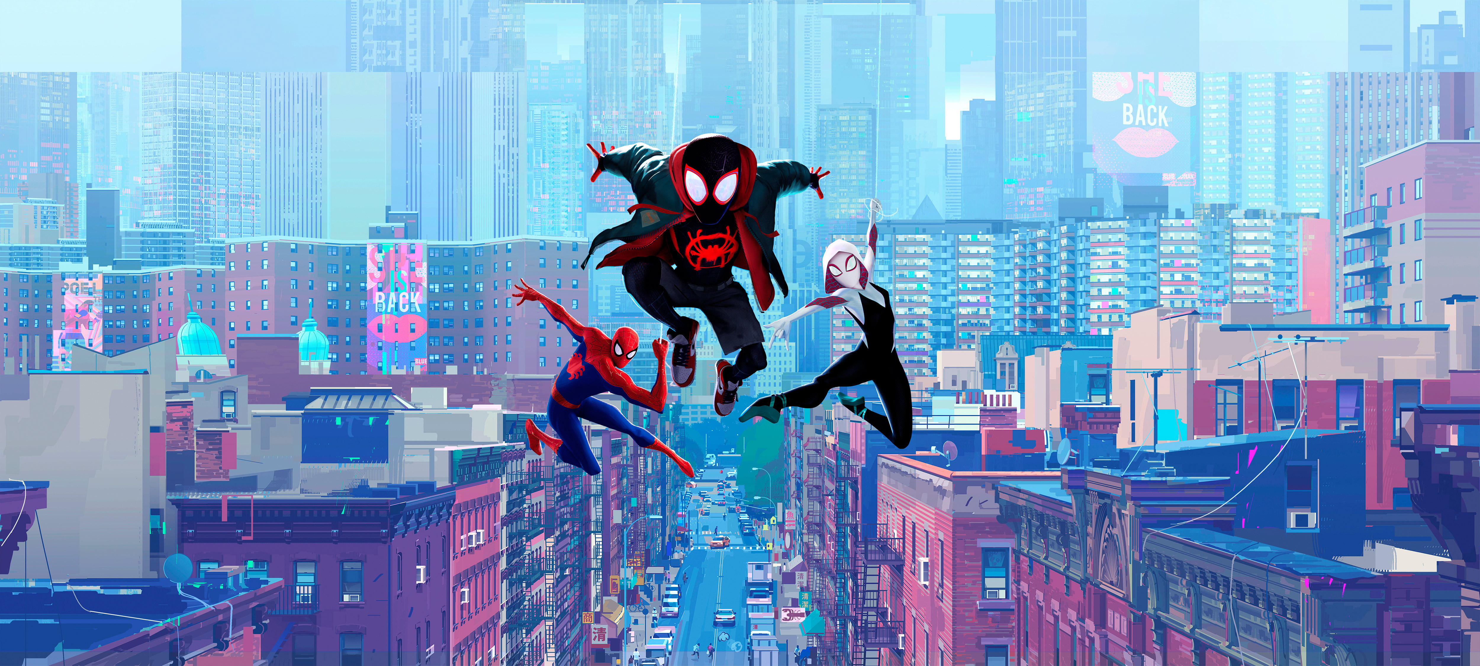 Miles Morales, Gwen, Animation, Jumping, Buildings, - Spider Man