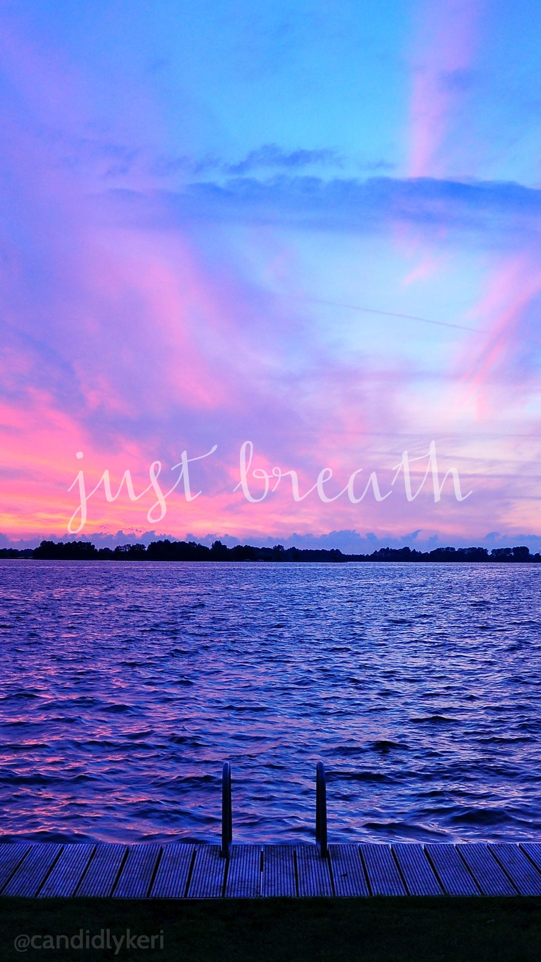 Just Breathe Sunset Ocean View Pink And Purple Sky - You Can T Handle Me Even If I Came With , HD Wallpaper & Backgrounds