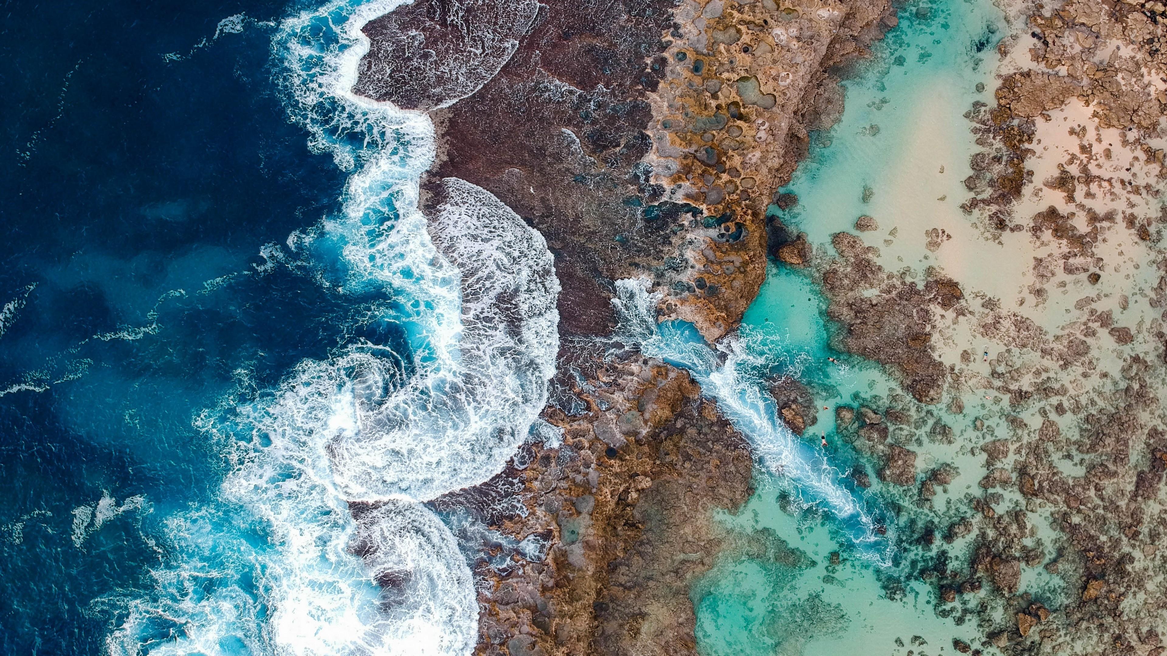 Beach, Waves, Ocean, Hawaii, People, Bird's Eye View - Ocean Birds Eye View , HD Wallpaper & Backgrounds