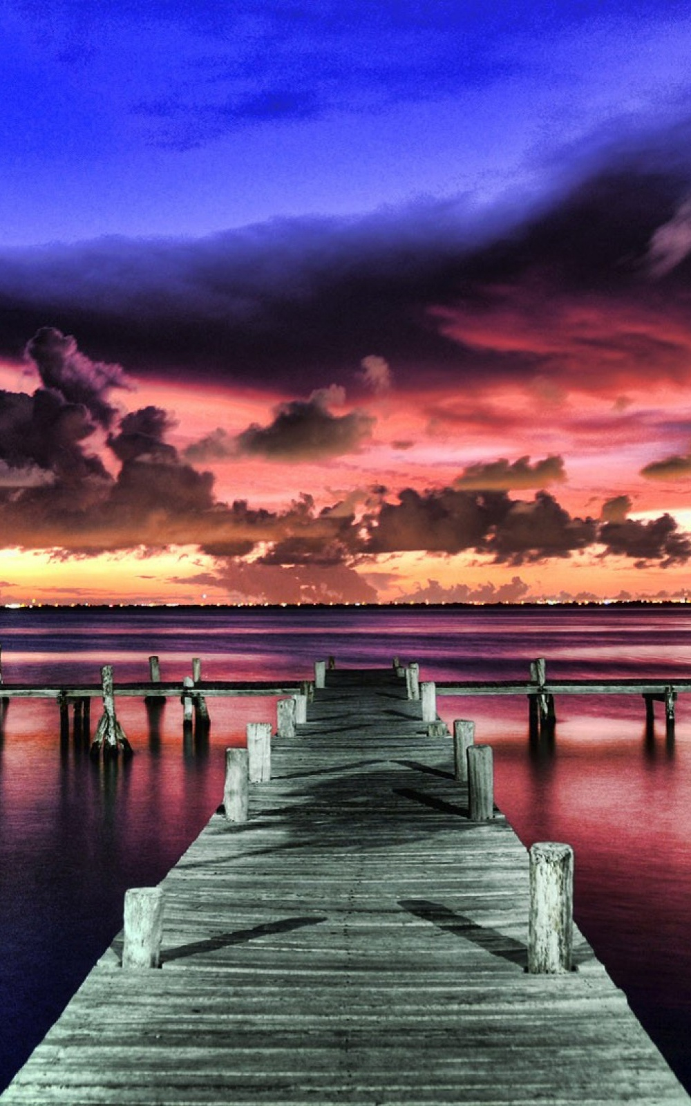 Wood Deck At Purple Sunset Android Wallpaper Summer Sunset