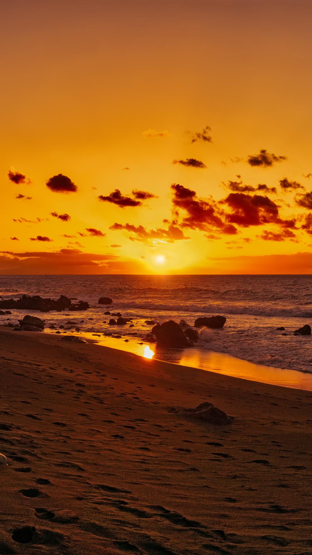 Afterglow, Beach, Shore, Sunrise, Sunset Wallpaper - Iphone Xs Max Wallpaper Sunset , HD Wallpaper & Backgrounds