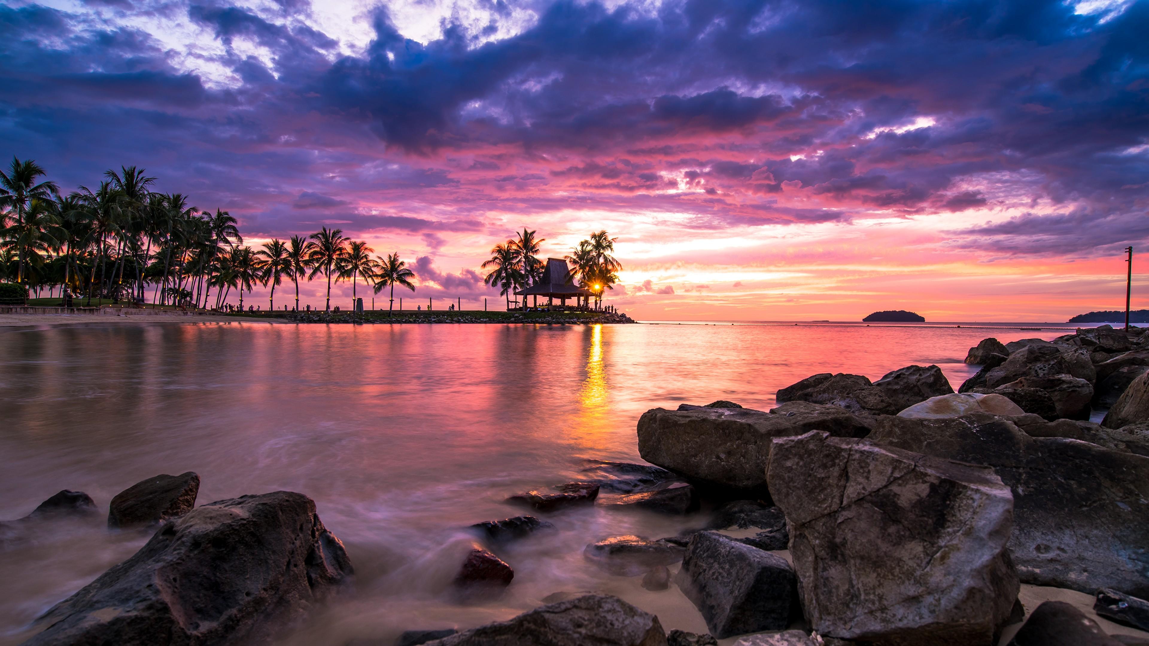 Beach Sunset Wallpaper For Desktop And Mobiles 4k Beach 1942973 Hd Wallpaper Backgrounds Download
