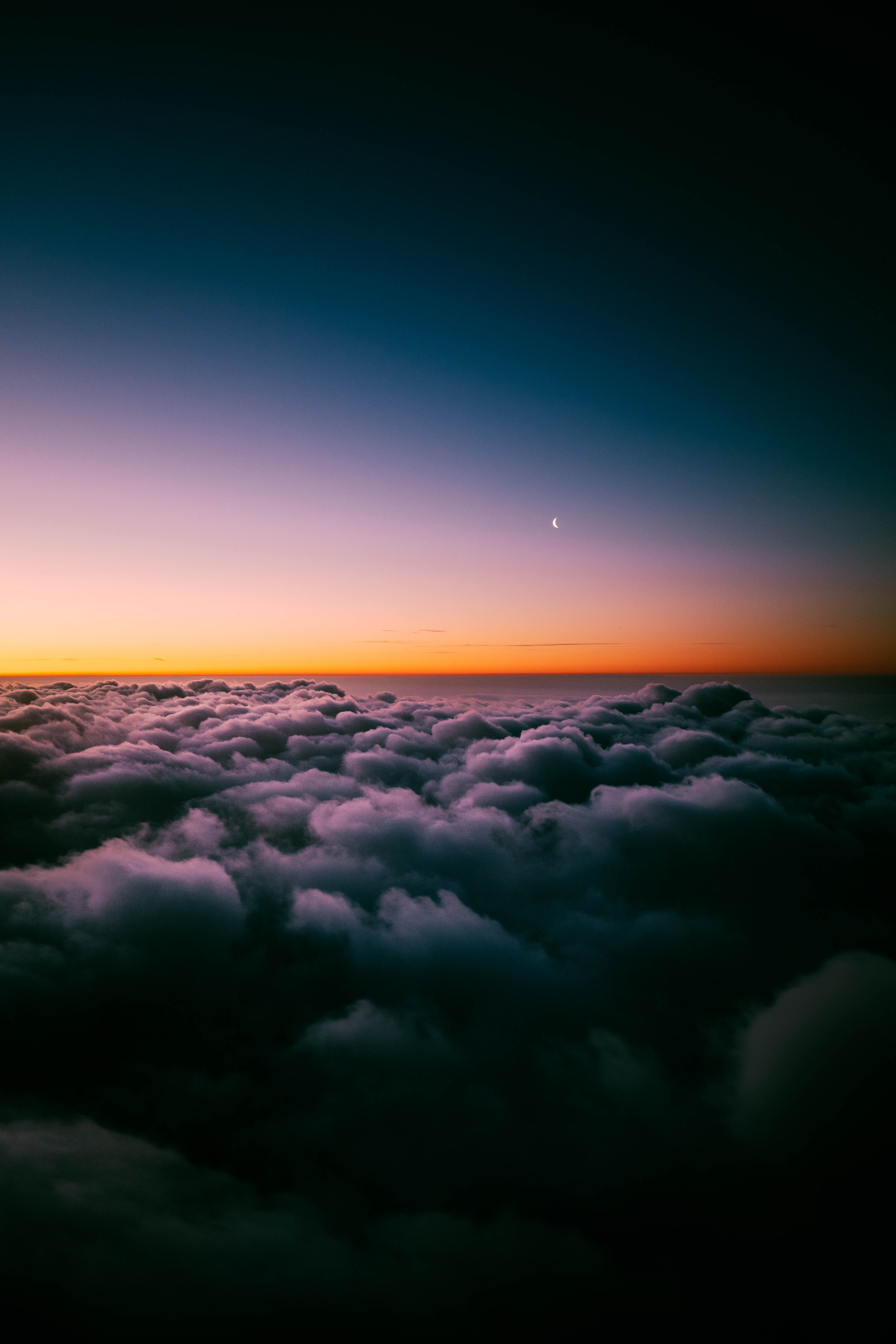clouds porous sunset sky horizon twilight moon above above the clouds 4k 1943684 hd wallpaper backgrounds download itl cat