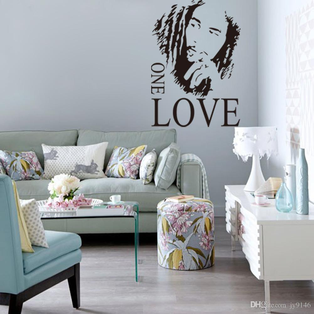 43*61cm Pvc Quote Wall Stickers Bob Marley One Love - Blue Floral Living Room , HD Wallpaper & Backgrounds