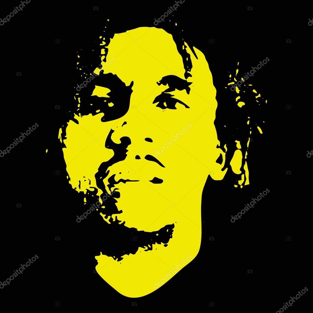 Illustrative Editorial Drawing Famous Jamaican Reggae Bob Marley
