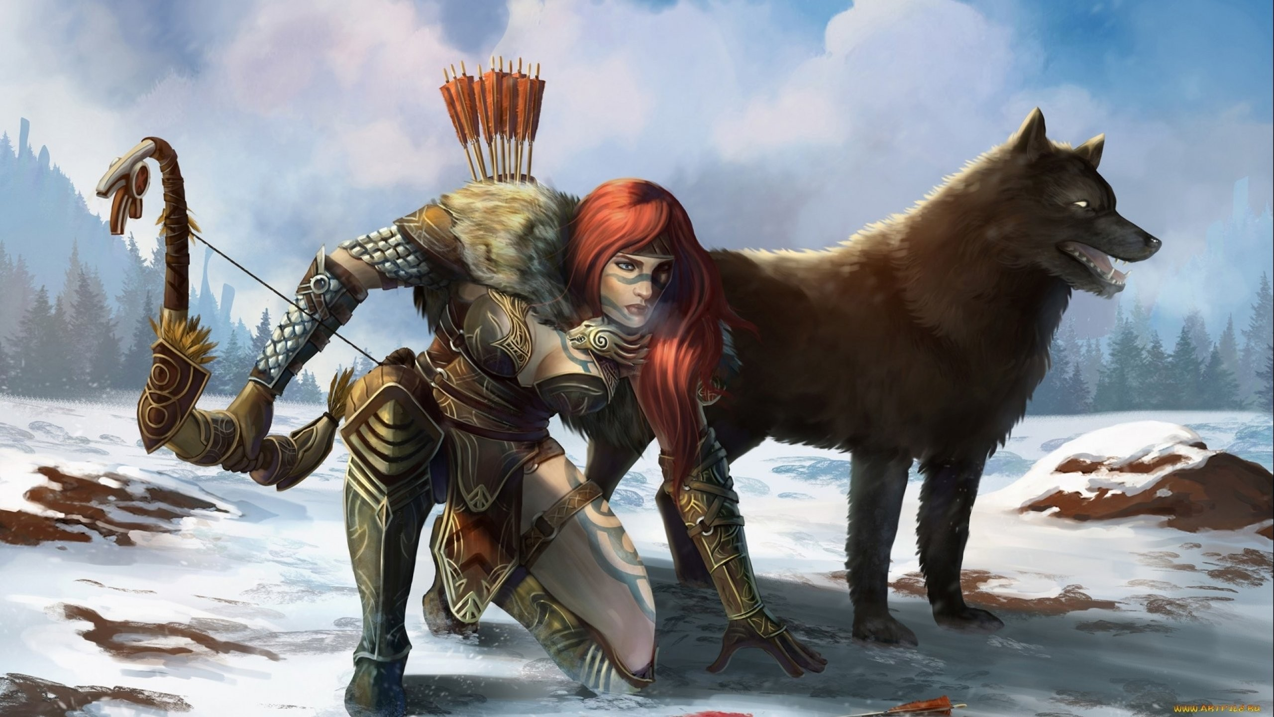Warrior, Technology Wallpapers, Woman, Wolf, Colourful, - Fantasy Art Female Archer , HD Wallpaper & Backgrounds