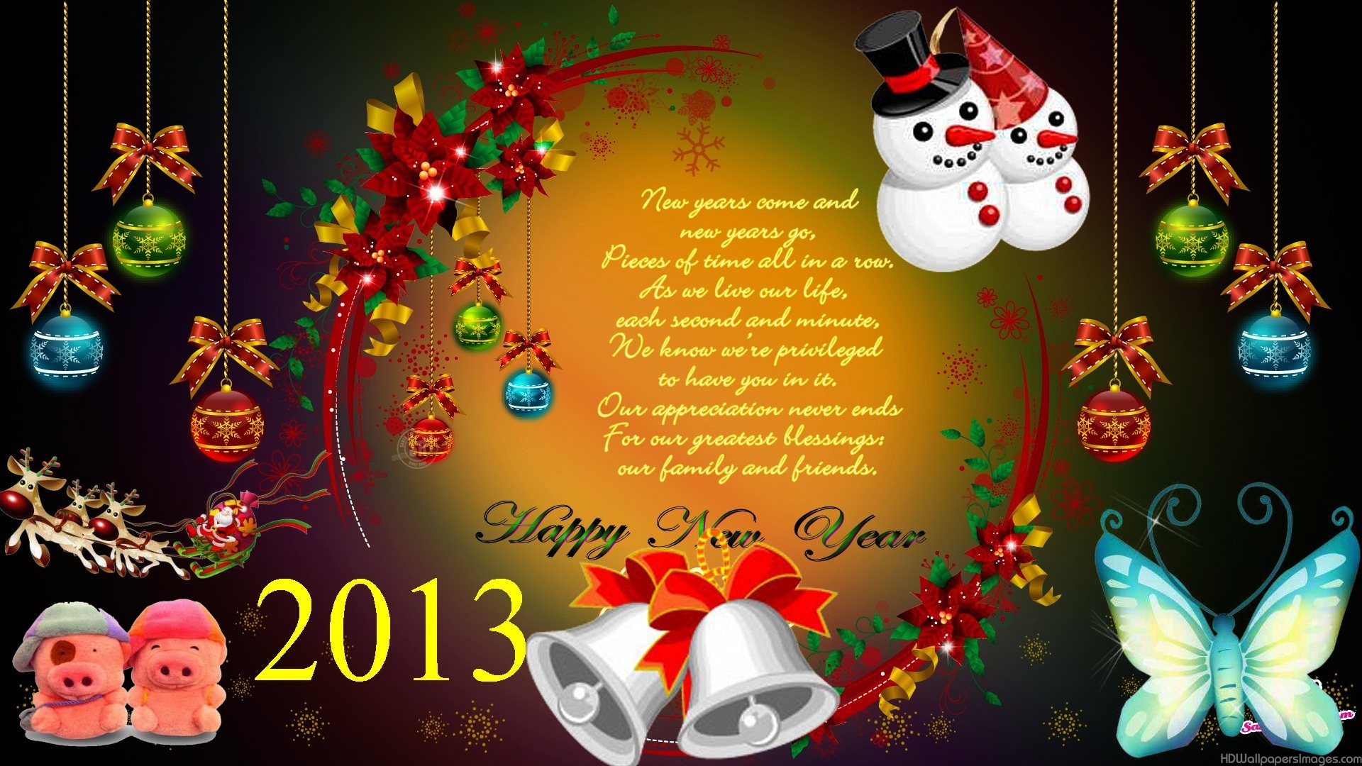 Download Happy New Year 2014 Wallpaper Hd Free - Christmas Card , HD Wallpaper & Backgrounds