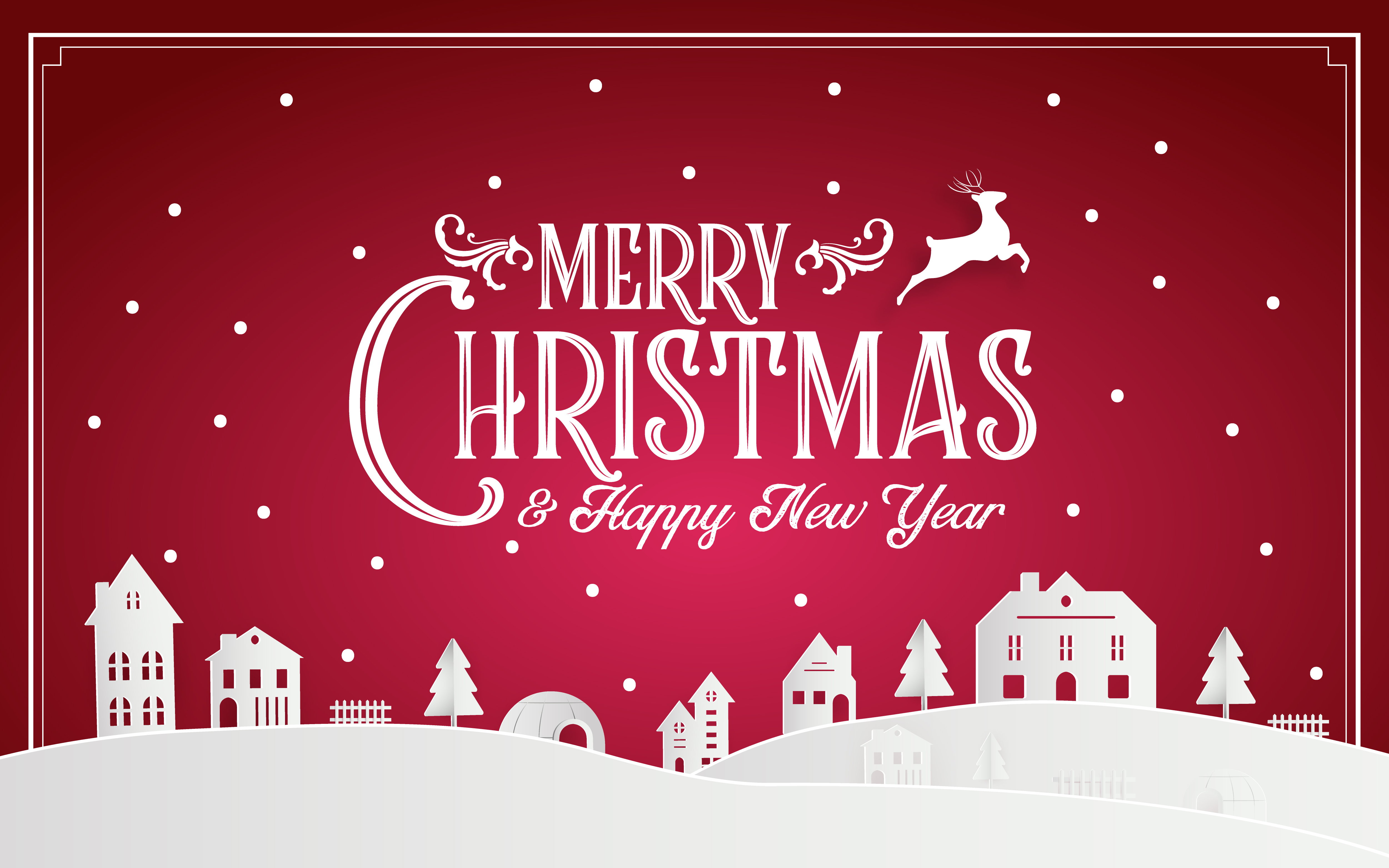 Red Pink Paper Art And Digital Craft Illustration Vector - Vector Merry Christmas And Happy New Year 2019 , HD Wallpaper & Backgrounds