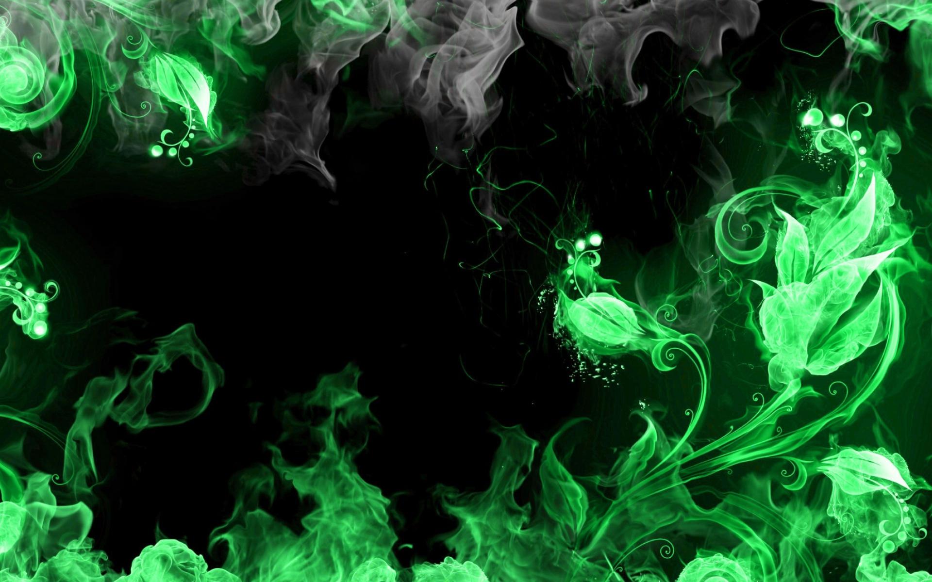 Fire Hd Wallpaper Green And Black Smoke Background