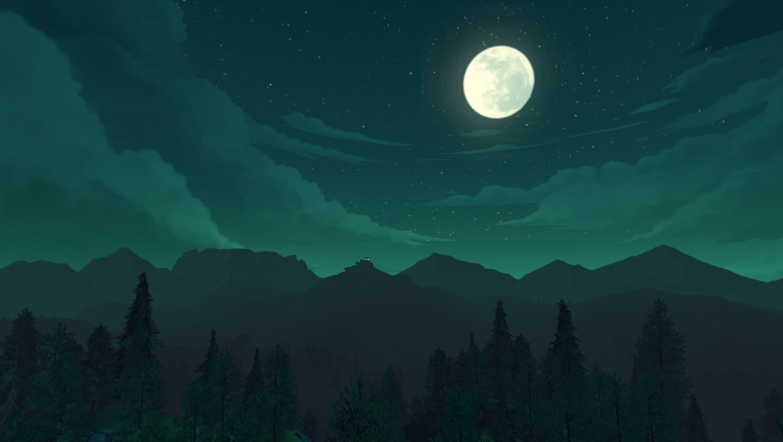 #night, #moon, #green, #fire Watch, #nature, - 1360 X 768 , HD Wallpaper & Backgrounds