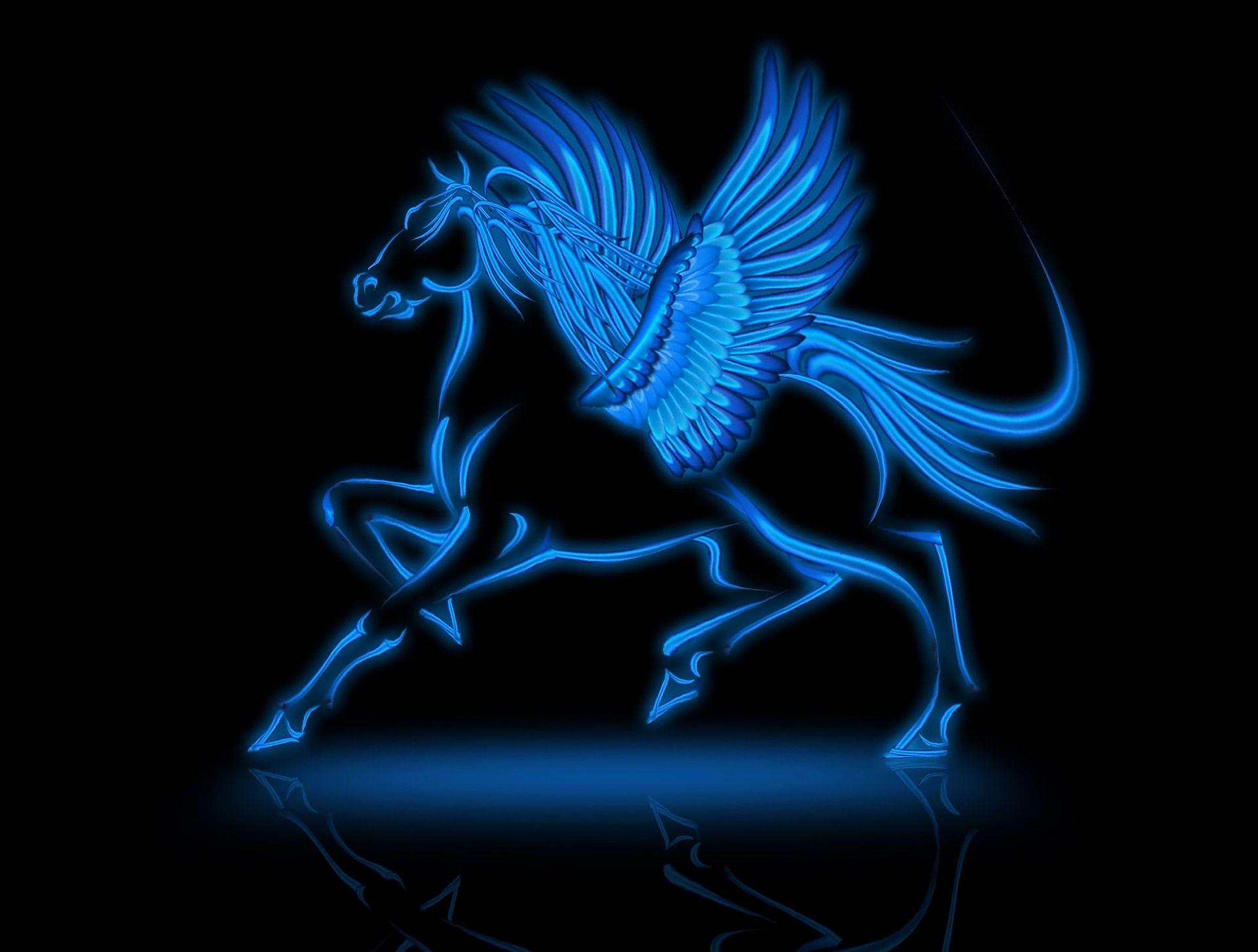 Blue Fire Horse Wallpaper - Blue Pegasus Wallpaper Hd , HD Wallpaper & Backgrounds