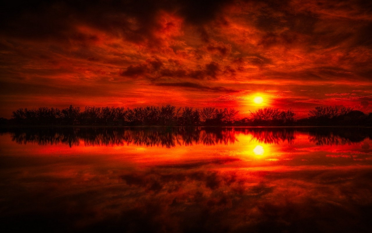 Fire Red Sunset , HD Wallpaper & Backgrounds