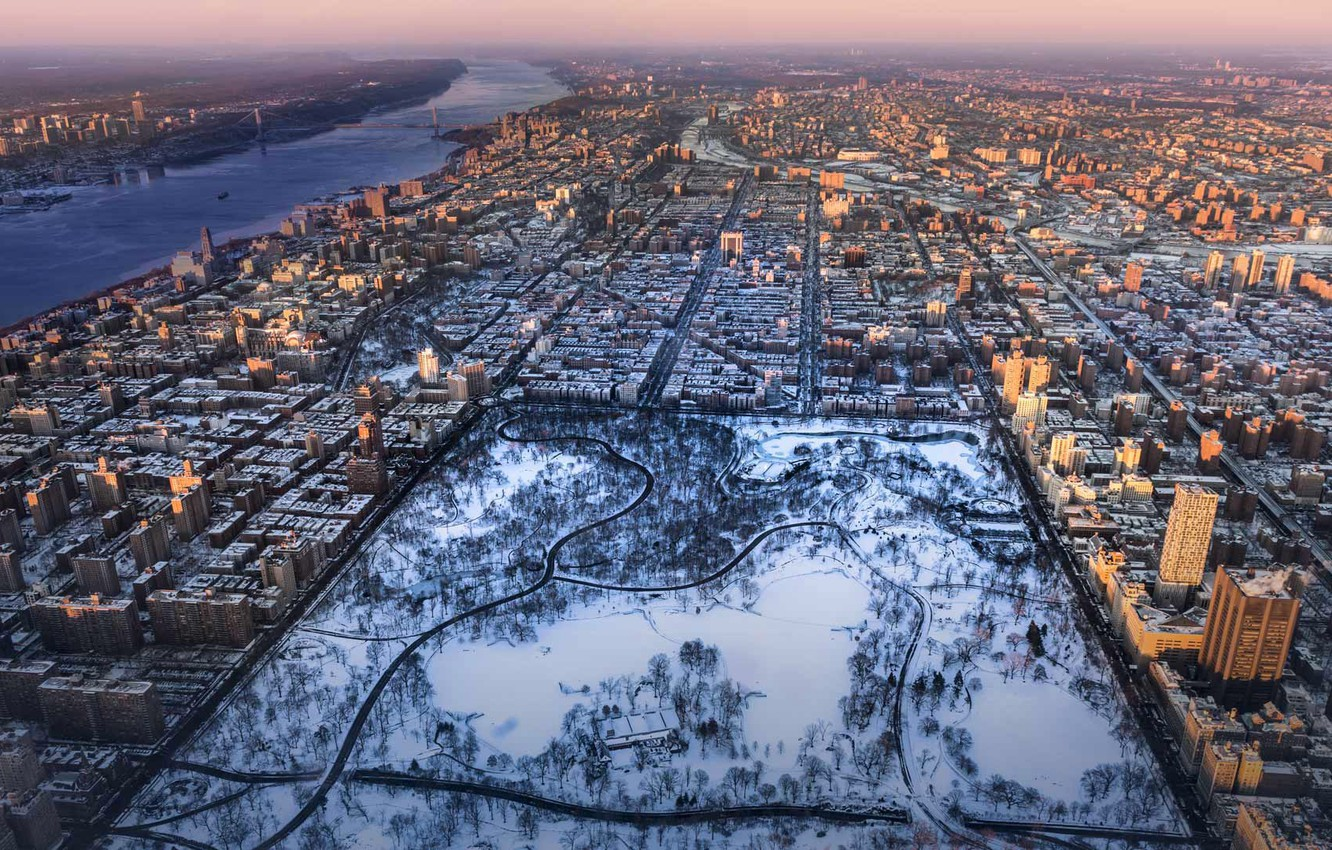 Photo Wallpaper Winter New York Panorama Usa Central Central
