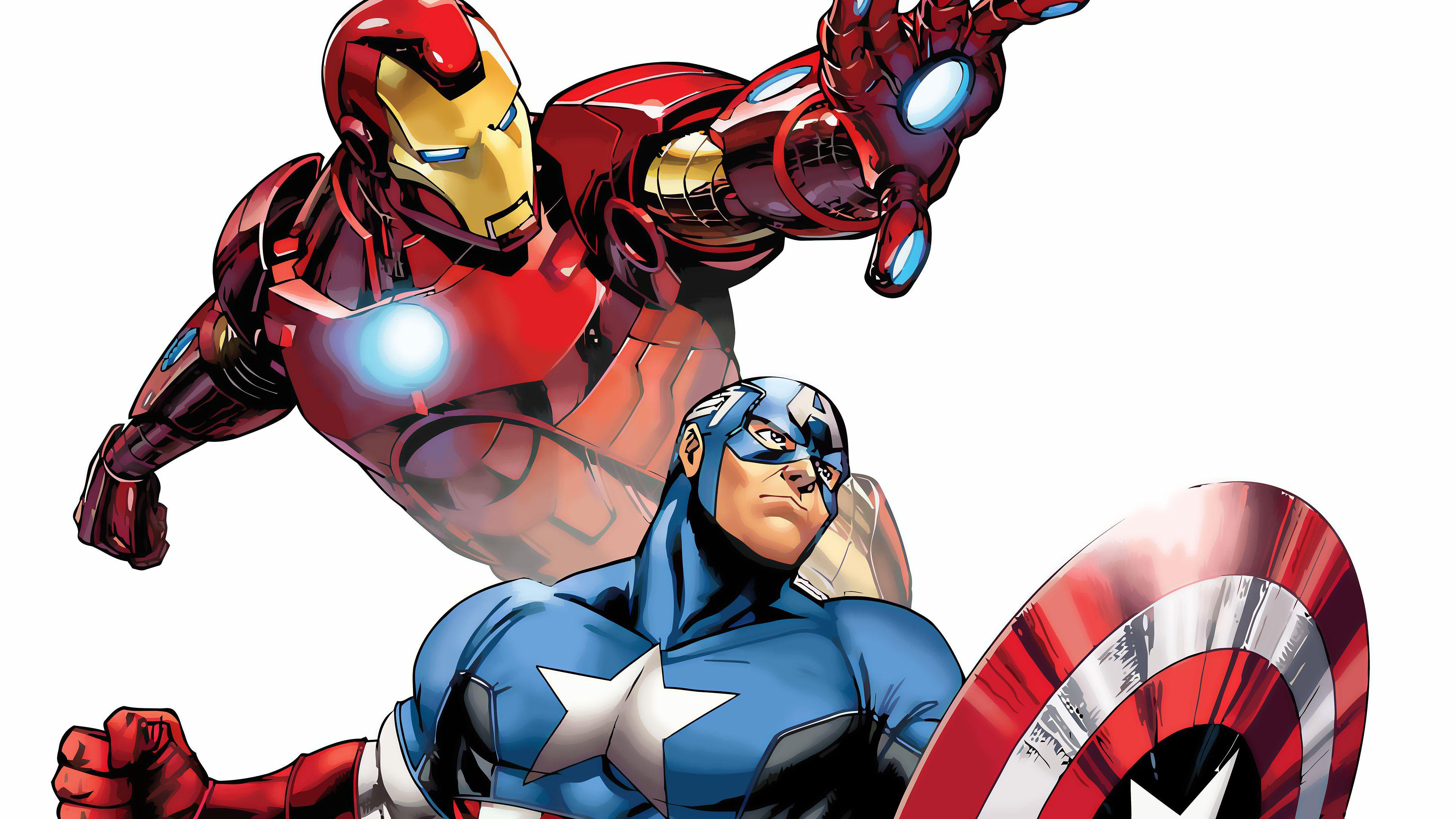 Iron Man And Captain America Marvel Comics Cartoon Marvel