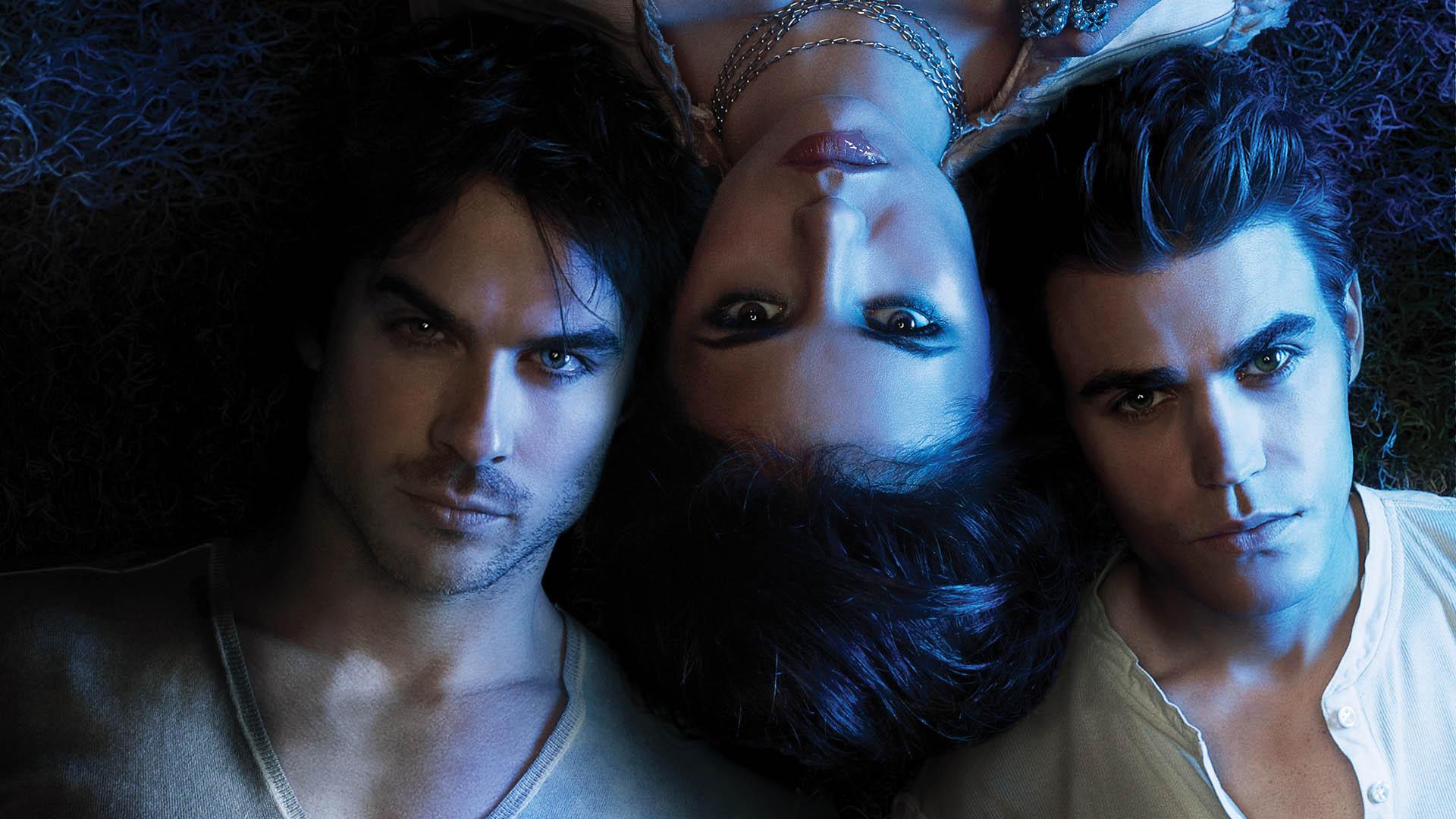 The Vampire Diaries Hd Wallpaper - Vampire Diaries Stefan Elena And Damon , HD Wallpaper & Backgrounds