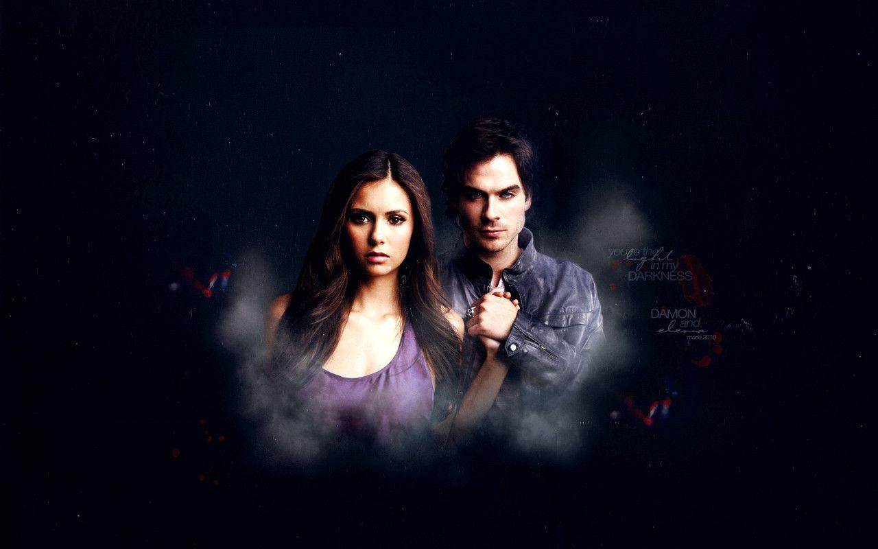 The Vampire Diaries Wallpaper Damon And Elena Vampire