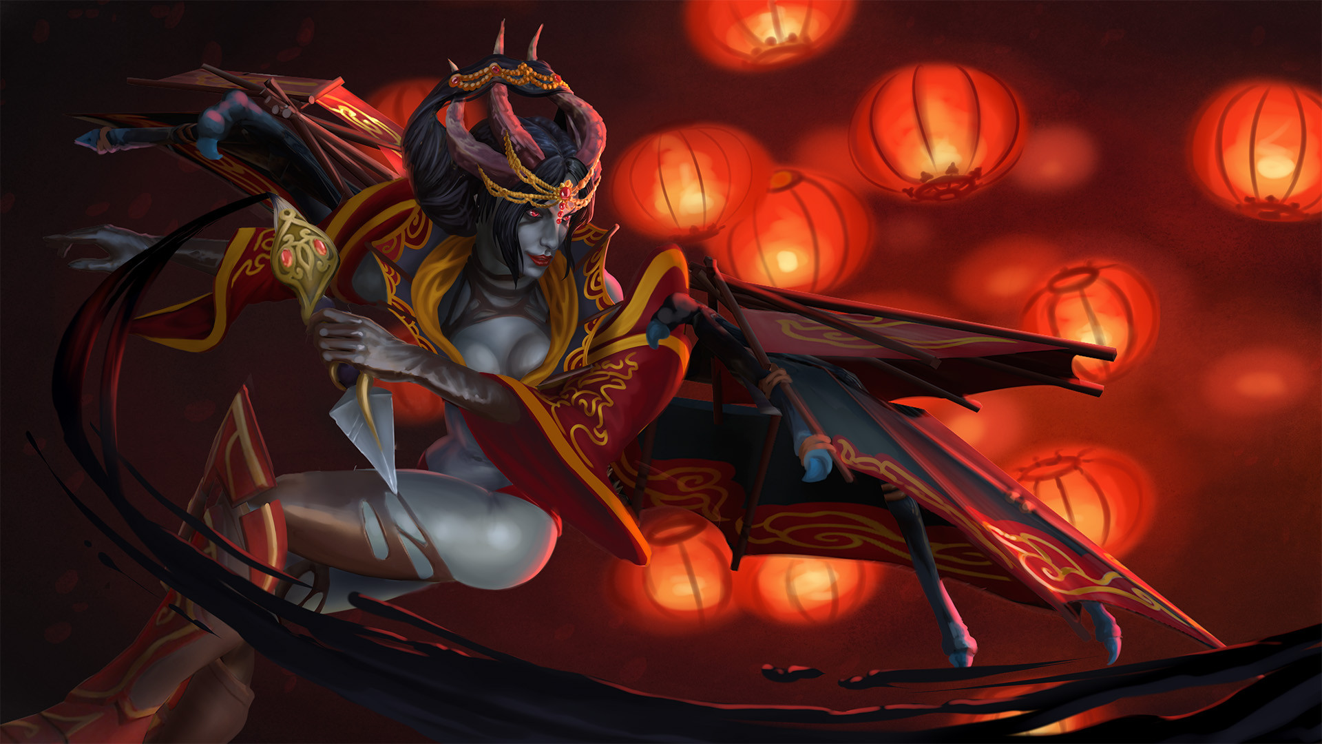 Game Wallpaper Dota 2 Queen Of Pain Loading Screen Regalia Of