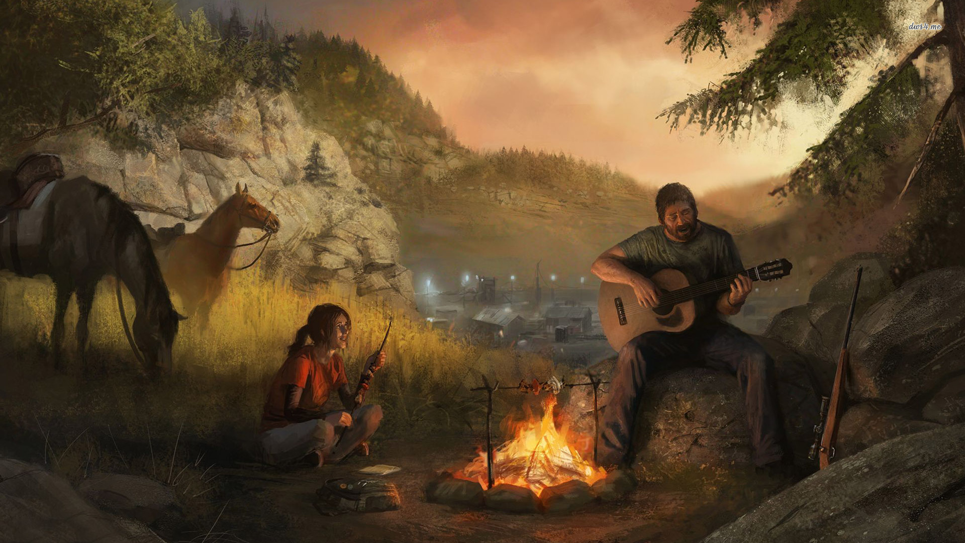 Ellie And Joel Last Of Us Joel Guitar 20302 Hd Wallpaper