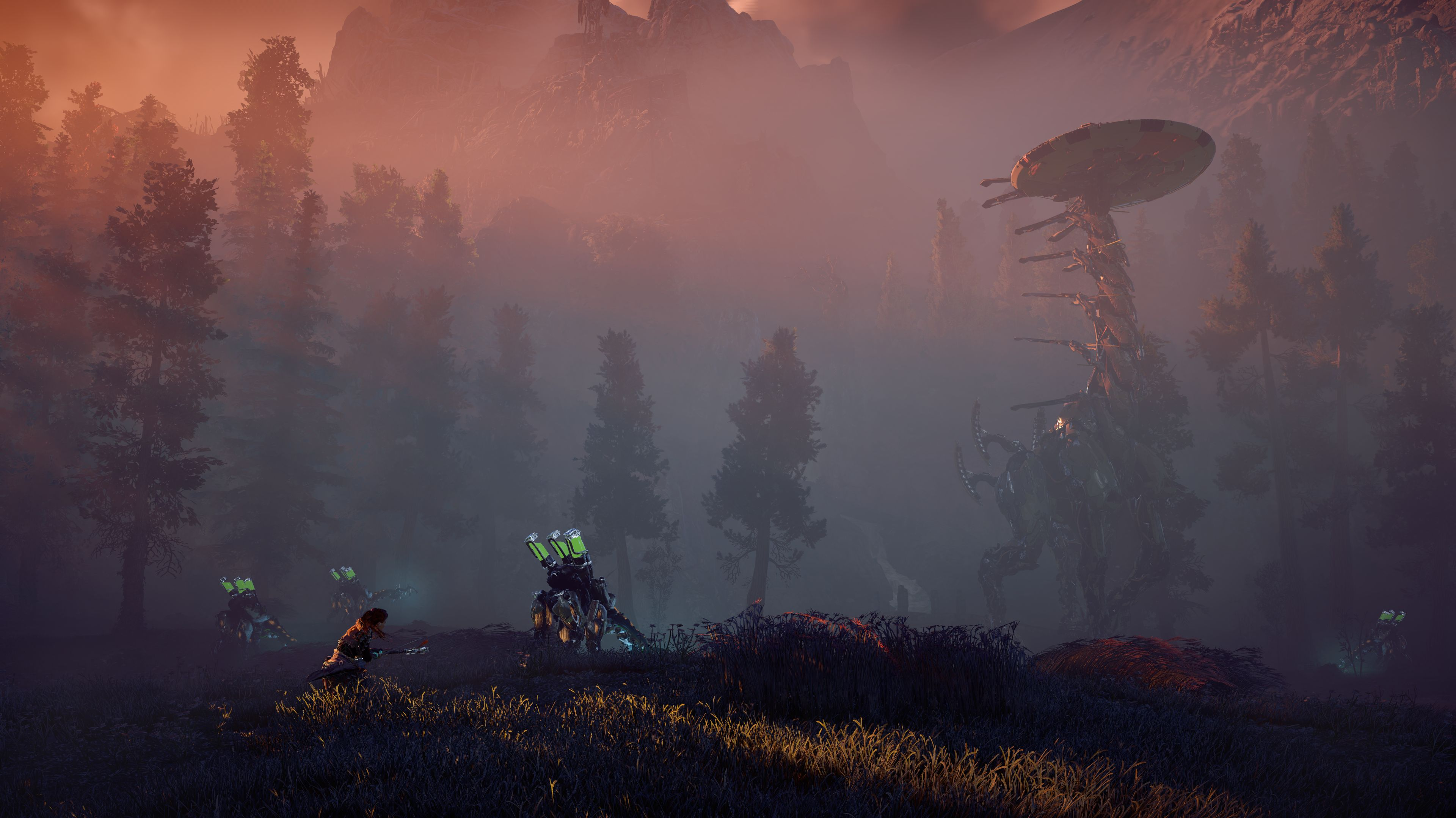 Horizon Zero Dawn, Forest, Playstation 4, Aloy, Morning - Background Horizon Zero Dawn 4k , HD Wallpaper & Backgrounds