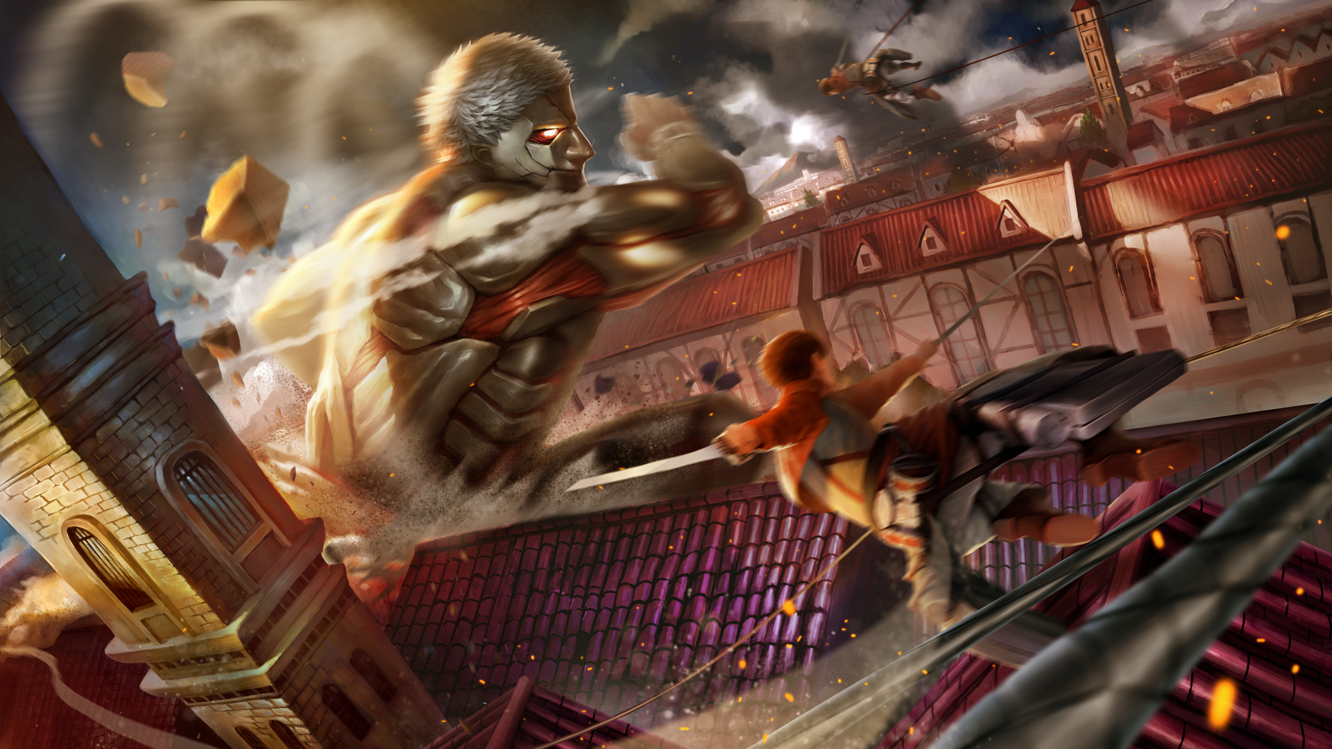 Wallpaper Of Armored Titan Attack On Titan City Attack On Titan 21841 Hd Wallpaper Backgrounds Download