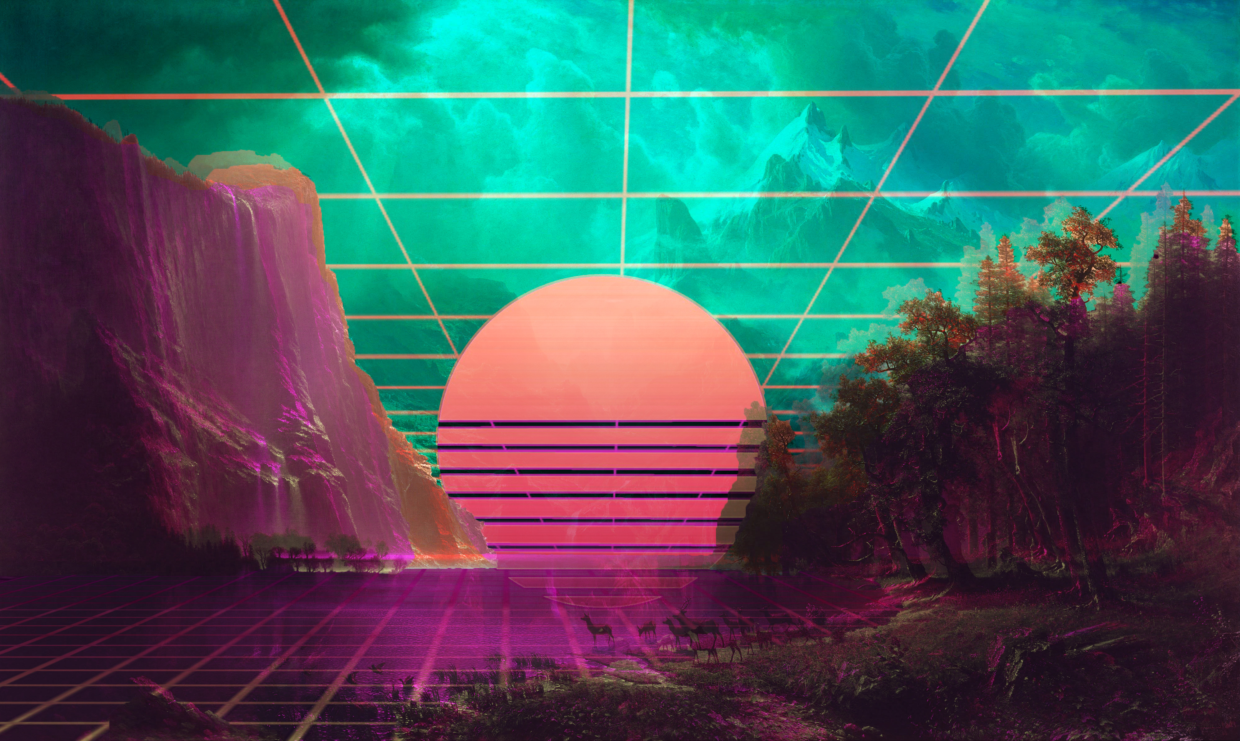 I Tried Make A Vaporwave Wallpaper Hd Wallpaper Retrowave Hd 23493 Hd Wallpaper Backgrounds Download