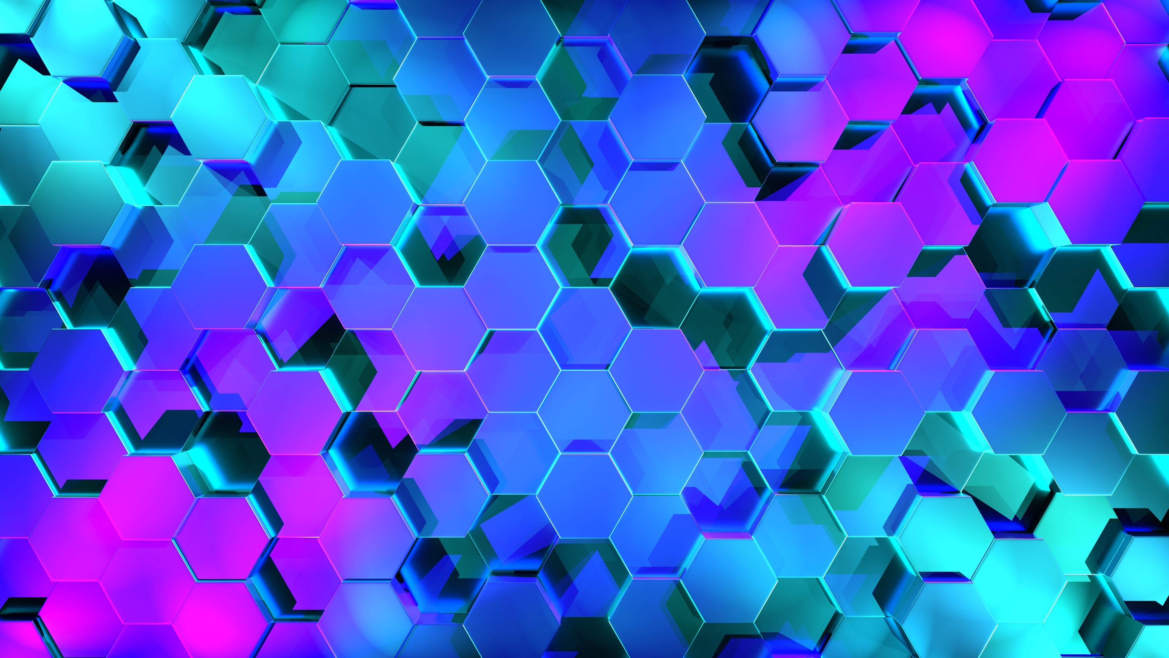 Download Wallpaper Hexagons Rendering Light Shape Within