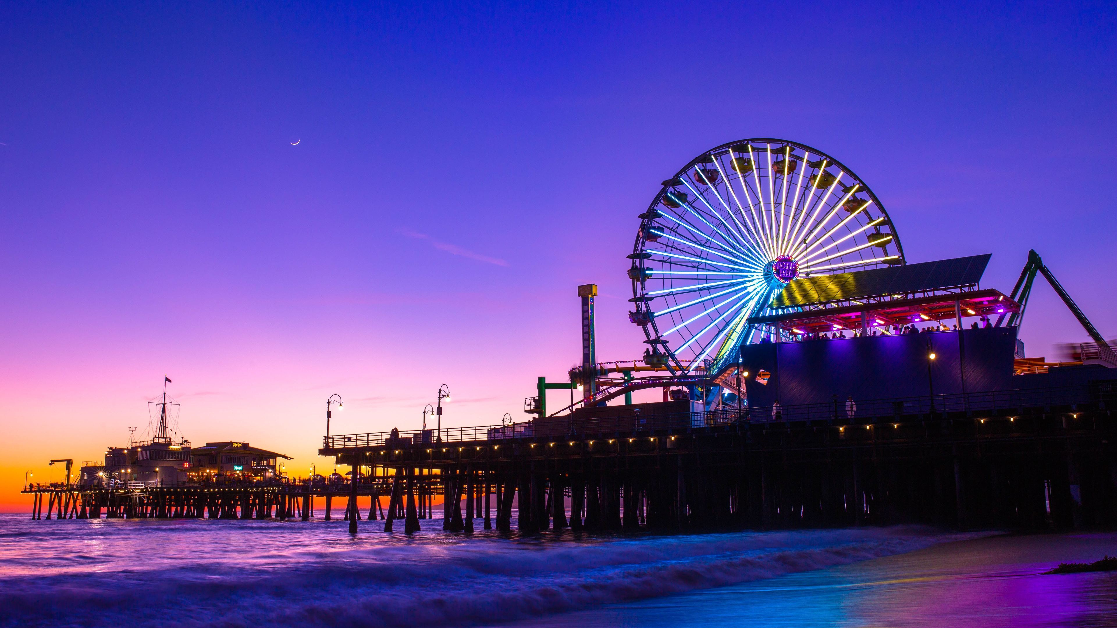 Santa Monica Pier 5k Wallpaper - Santa Monica Pier Wallpaper 4k , HD Wallpaper & Backgrounds