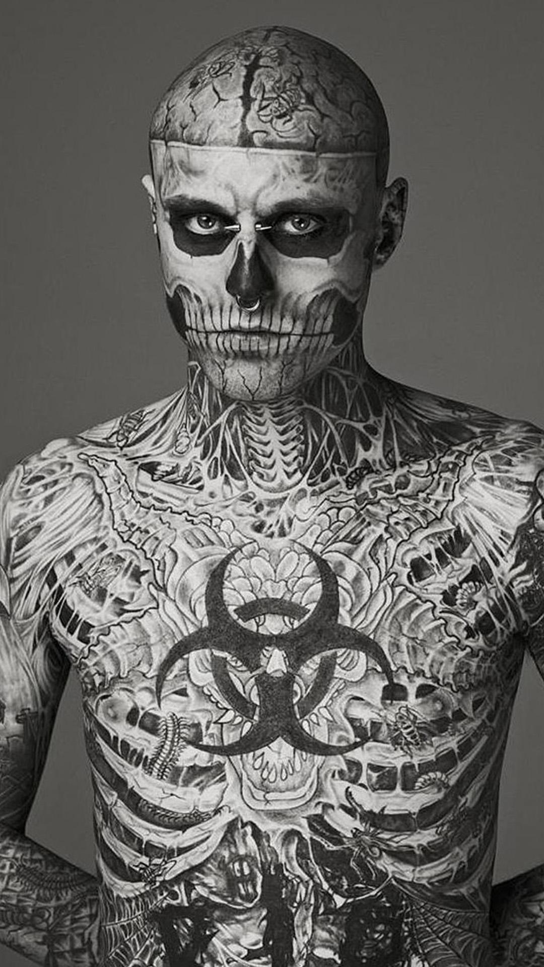 Tattoo Face Male Model , HD Wallpaper & Backgrounds