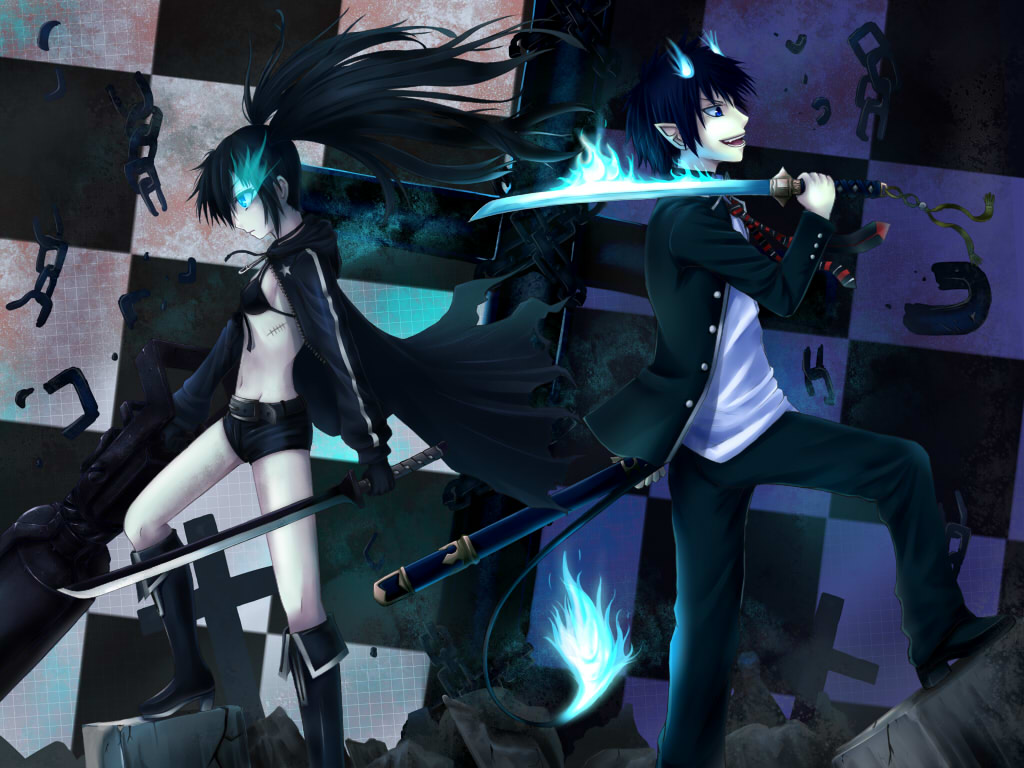 Ao No Exorcist Black Hair Black Rock Shooter Blue Eyes Okumura
