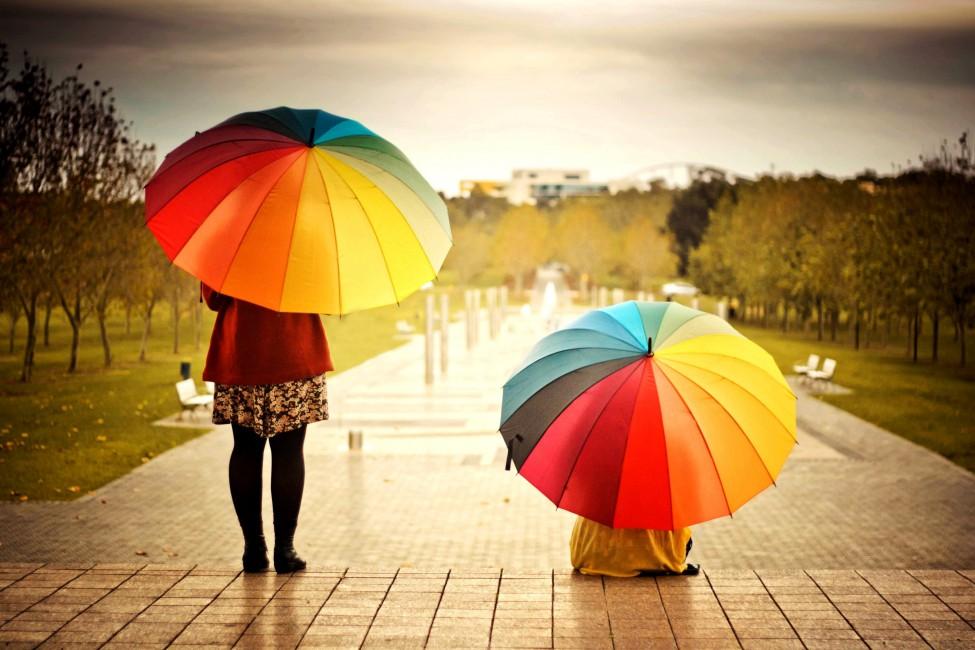 Umbrellas Colorful Kids Rainbow Weather Mood Colorful