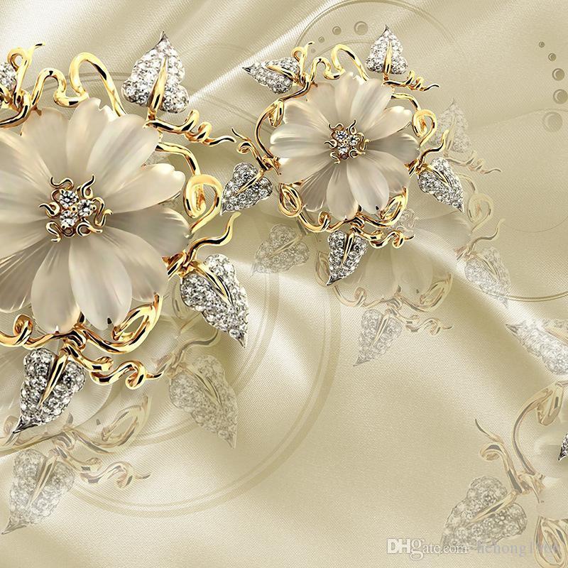 Seamless 3d Mural Wallpaper Golden Diamond Jewellery - Golden Flower , HD Wallpaper & Backgrounds