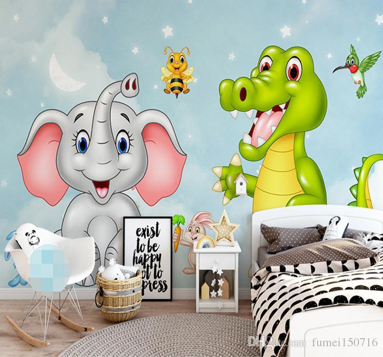 Custom Mural Wallpaper 3d Hd Cartoon Elephant Dinosaur