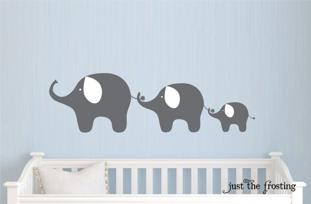 Cute Grey Elephants Decorations Wall Decals Bedrrom - Vinyl Wall Decals Elephant , HD Wallpaper & Backgrounds