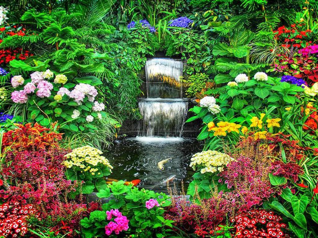 Flower Garden Wallpaper Free Download Flower Garden With Waterfall 2014946 Hd Wallpaper Backgrounds Download