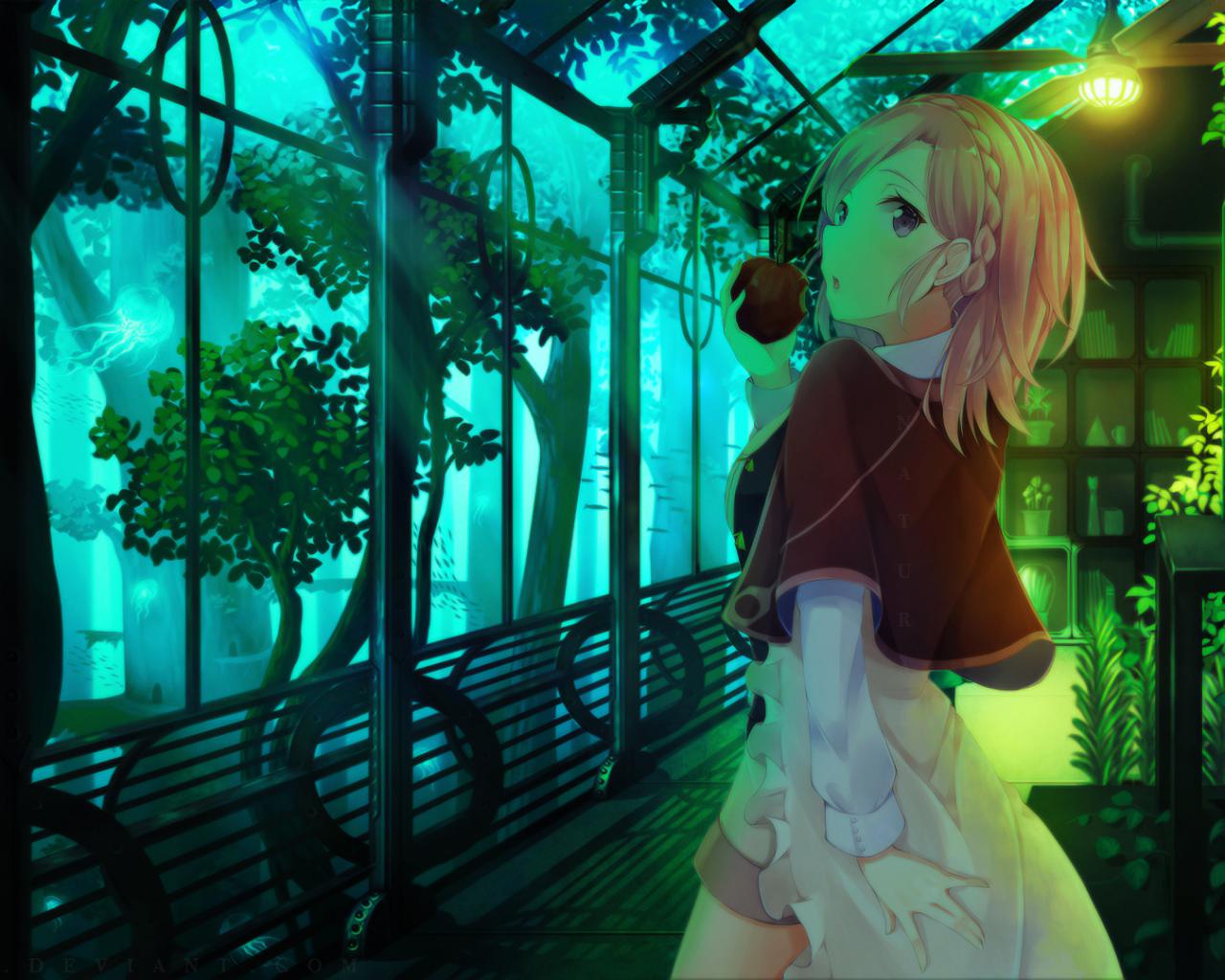 Anime Girl, Garden, Apple, Pink Hair, Plants, Trees - Девушка В Оранжерее , HD Wallpaper & Backgrounds