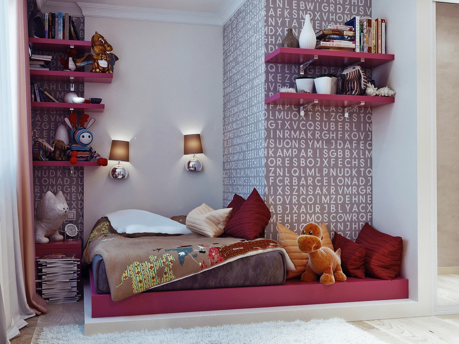 Cute Girl Bedroom Ideas With Coolest Wallpaper With