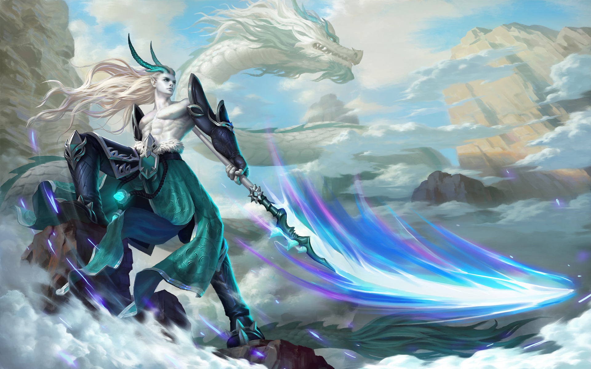 Fantasy White Dragon Warrior , HD Wallpaper & Backgrounds