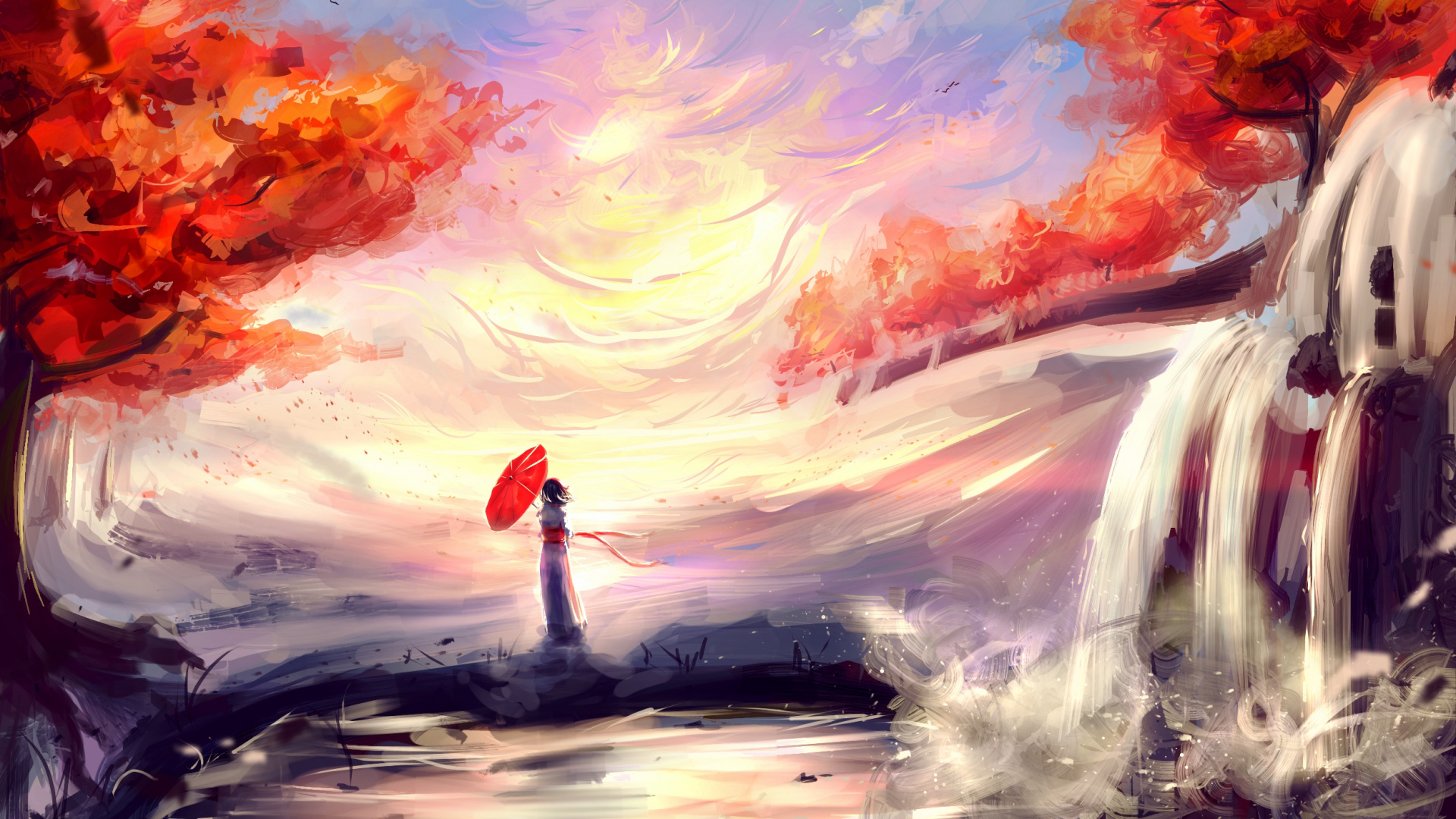 Acrylic Paint, Creative Arts, Anime, Watercolor Paint, - Background Fall Painting Anime , HD Wallpaper & Backgrounds