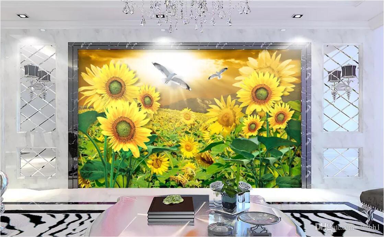 3d Wallpaper Custom Photo Mural Sunflower Flower Sea - Papeis De Parede Flores Girassol , HD Wallpaper & Backgrounds
