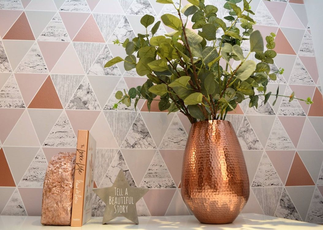 203 2031884 copper vase with eucalyptus leaves rose gold geometric