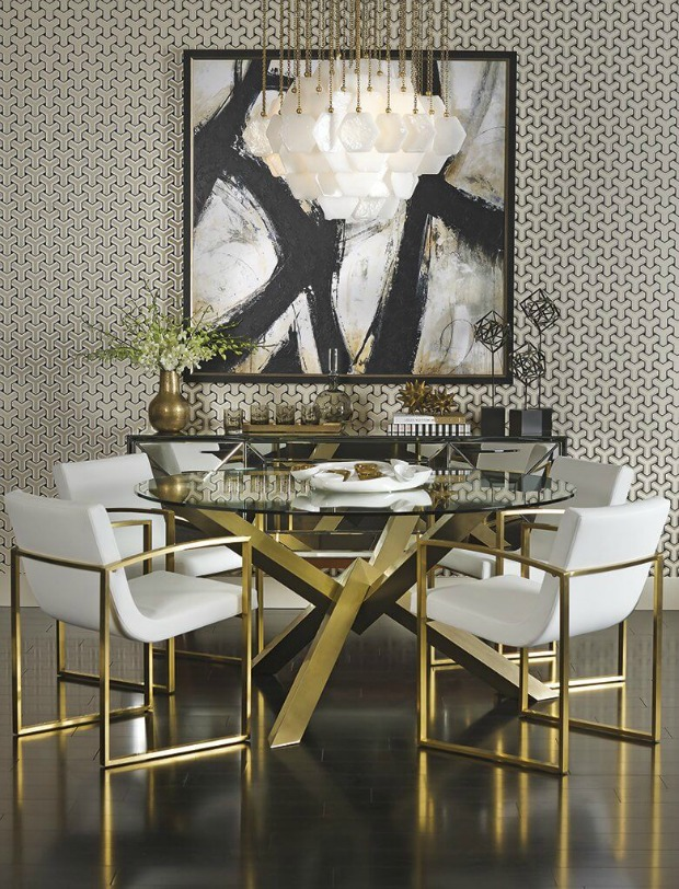 Interior Design Trend - White And Gold Dining Room Set , HD Wallpaper & Backgrounds