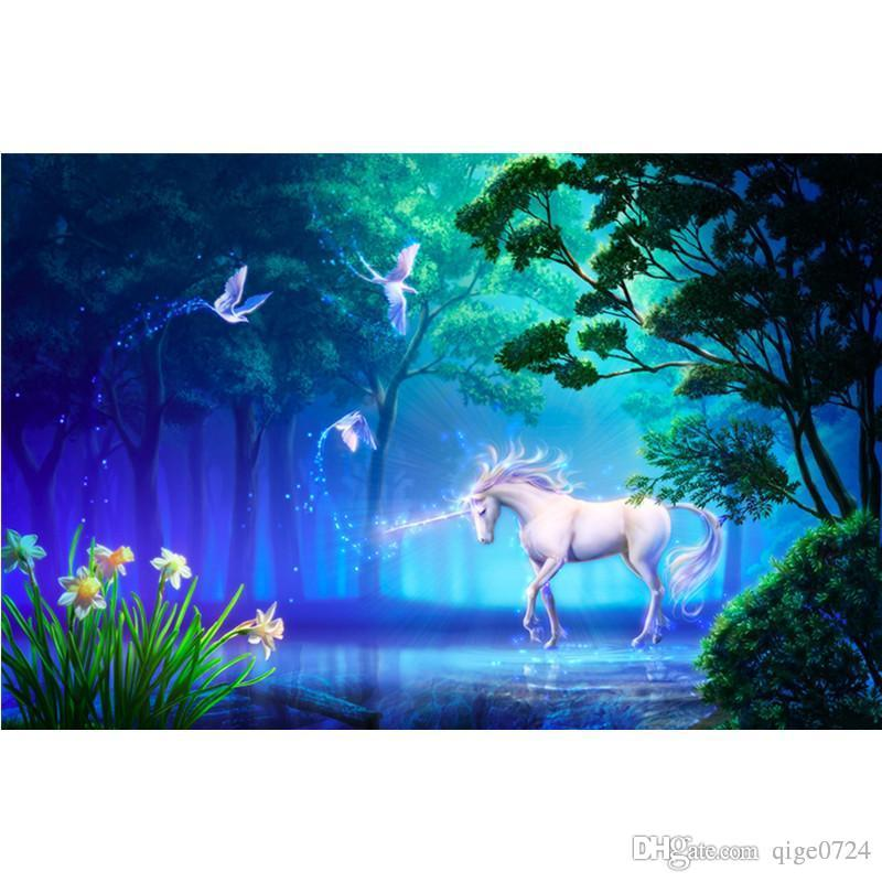 2019 5d Diy Full Square Diamond Painting Accessories - Unicorn In Magic Forest , HD Wallpaper & Backgrounds