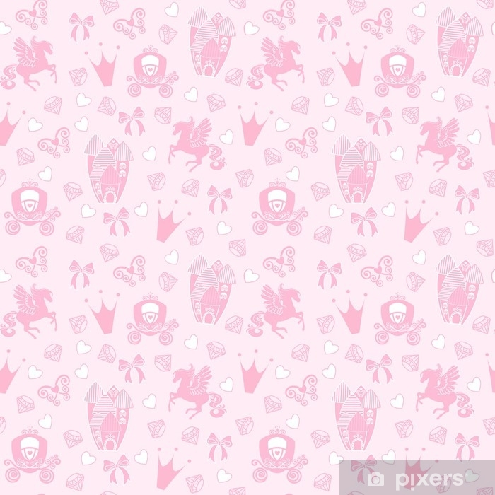 Princess Seamless Pattern For Textile With Castle, - Wallpaper , HD Wallpaper & Backgrounds