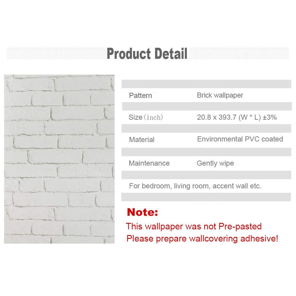 akea vintage white brick wallpaper roll