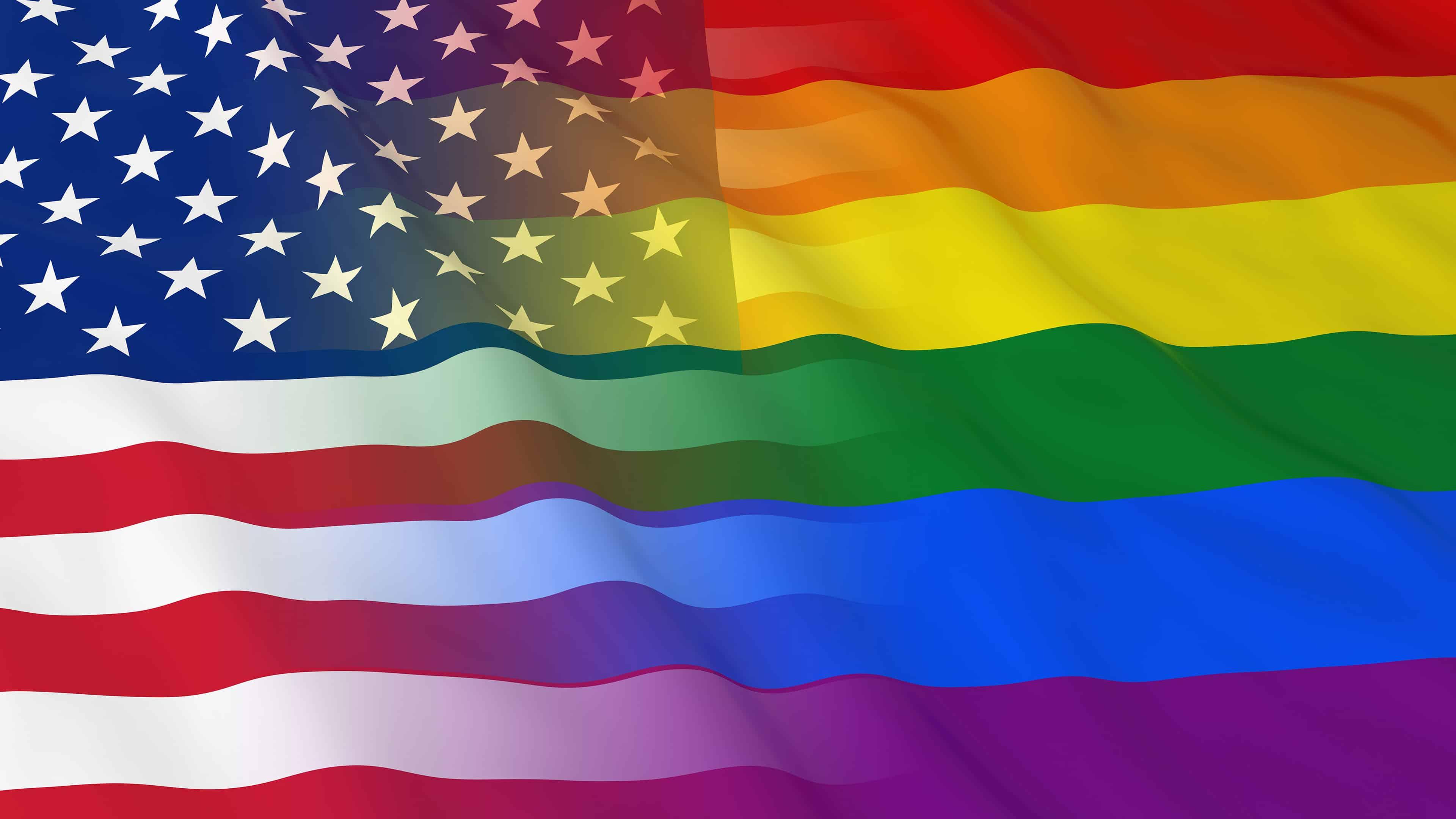 American And Lgbt Flag Uhd 4k Wallpaper - Pride Flag American Flag , HD Wallpaper & Backgrounds