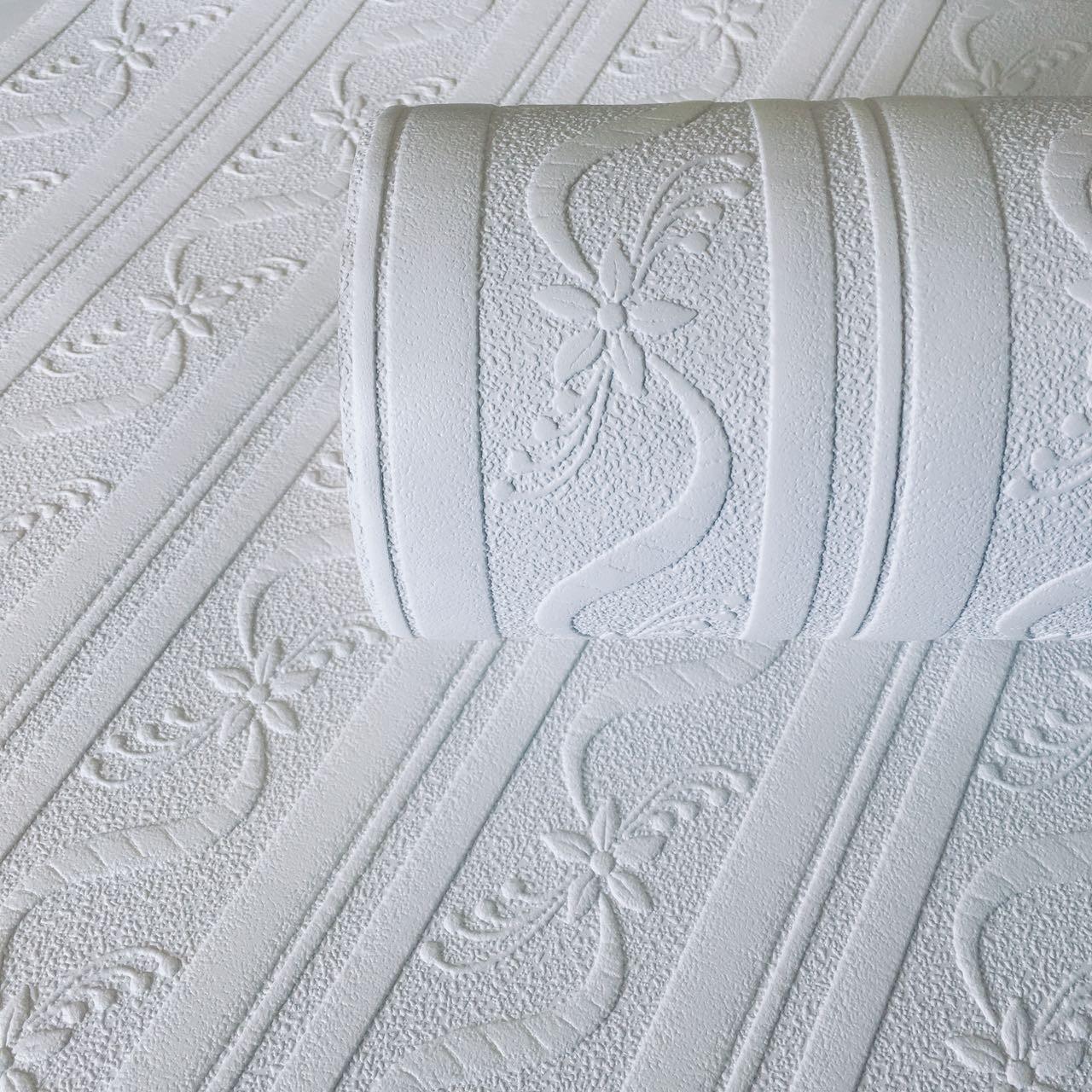 Ribbon Stripe White Blown Vinyl Wallpaper By A Carving 2036144