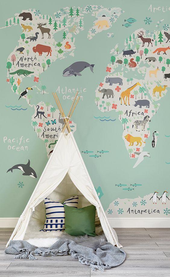 Gender Neutral Nursery 84 World Map Wallpaper Baby Kids