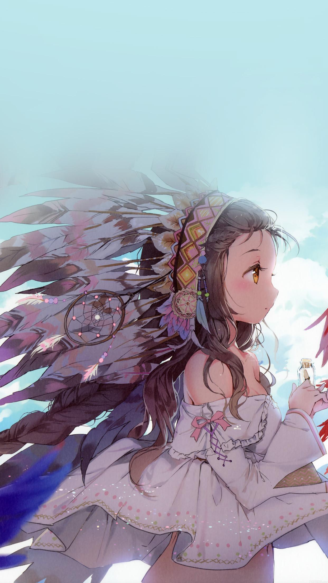 Indian Girl Anime Birds Illust Art Android Wallpaper - Indian Girl Anime , HD Wallpaper & Backgrounds